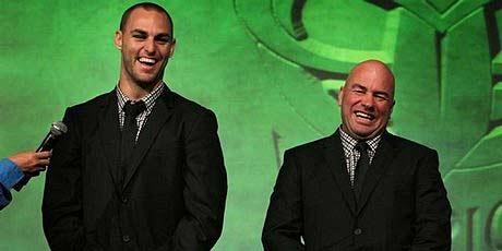 Warriors captain Simon Mannering (left) and coach Brian McClennan see the funny side at yesterday's season launch in Auckland.