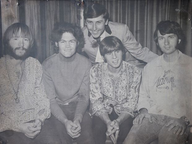 Graham Webb (at rear) with The Monkees: (from left) Peter Tork, Micky Dolenz, Davy Jones and Michael Nesmith.