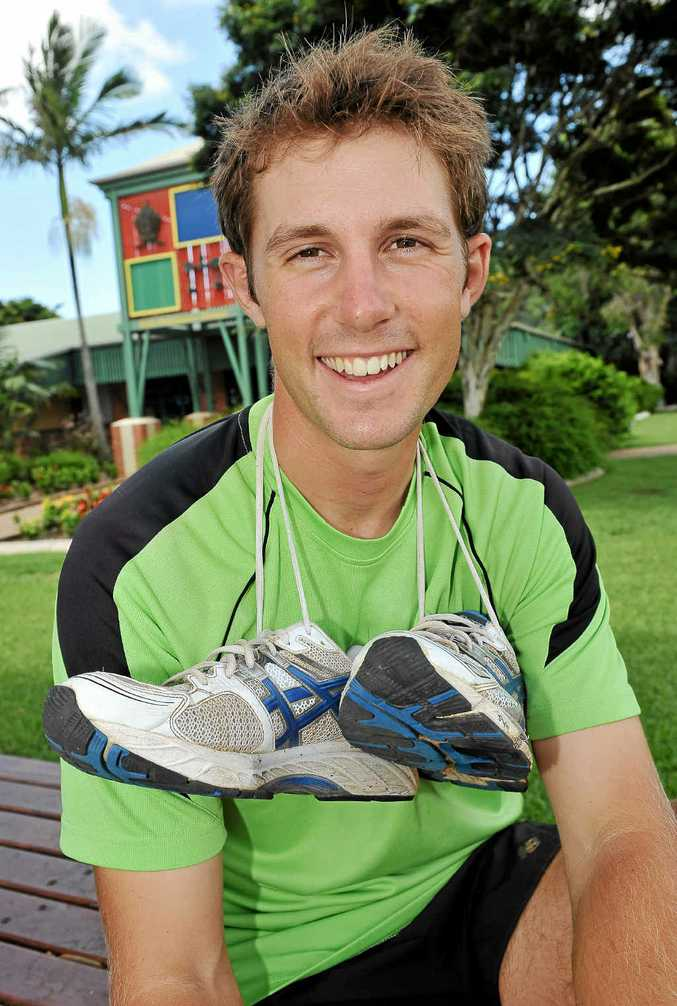 Brad Carron-Arthur takes a rest from his trek from Canberra to Cooktown as he raises funds and awareness for mental health.