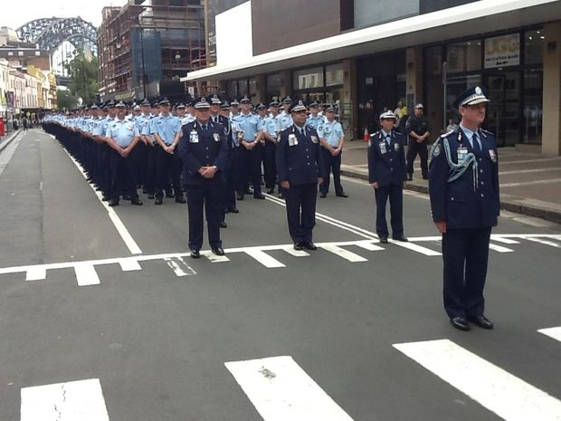 Police marched across Sydney today to mark 150 years of the NSW Police Force.