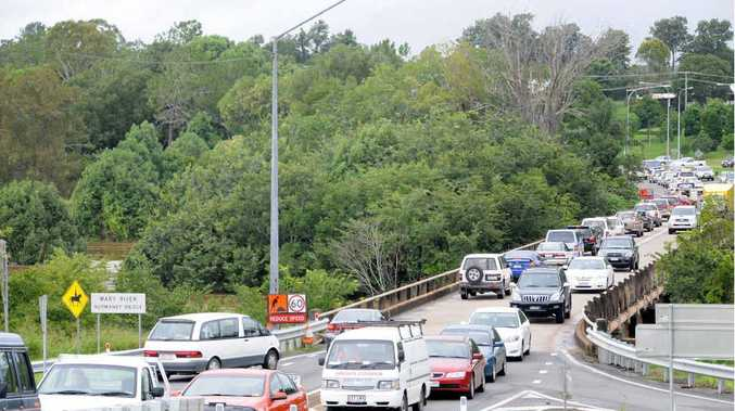 STANDSTILL: Traffic backs up as frustrated motorists come to terms with a long wait while attempting to cross Normanby Bridge.