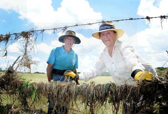 Keith and Carol Stewart clean their fence line after the flood