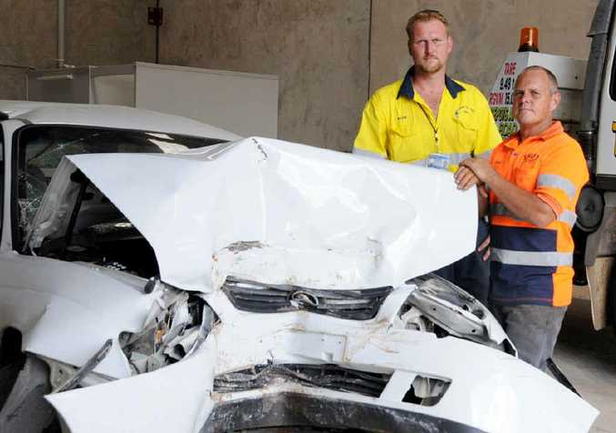 Wayne Ellis from Gympie Tilt Tray Hire and Jason Rees of Shift Towing and Car Body Removals.