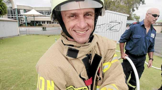 The World's Toughest Firefighter, Joachim Posanz demonstrates his skills at Ballina Fire Station.