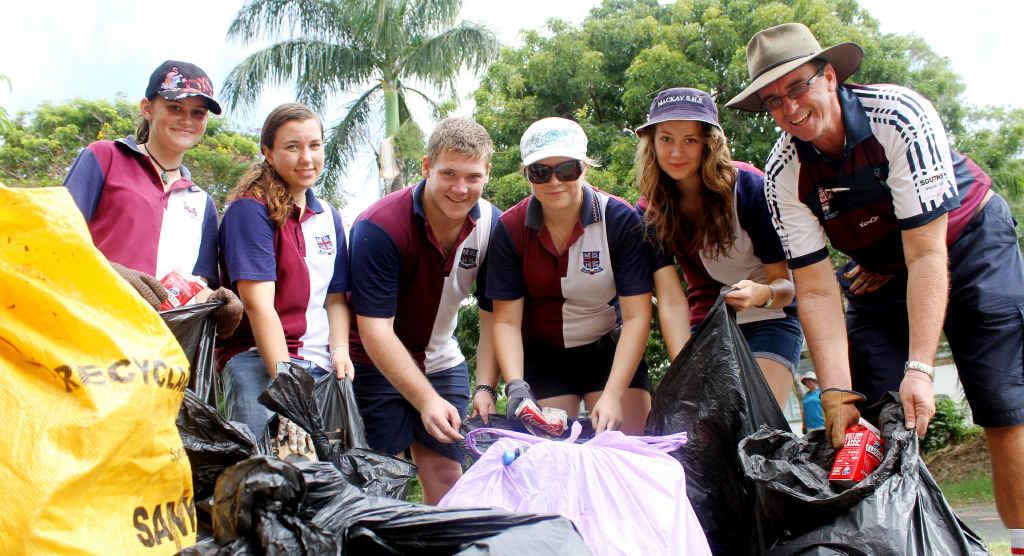 Mackay State High students, Jade Buckeridge, Claire Smith, Jacob Pinyon, Hannah Bratkovic, Maeson Gorgon and Principal Steve Paulger patrol streets around the school to Clean Up Australia.