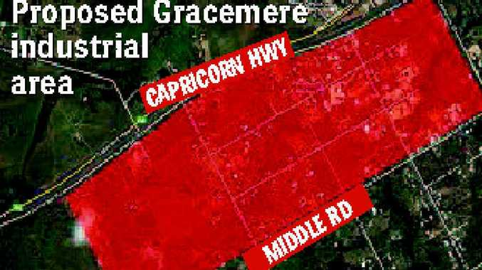 A map showing the Gracemere Industrial Area – the tract of land to be opened up by a $50 million flyover from the Capricorn Hwy.