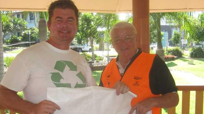 Surfrider Foundation treasurer Anthony White with Member for Keppel Paul Hoolihan at the rotunda at Beaman Park on Clean Up Australia Day.