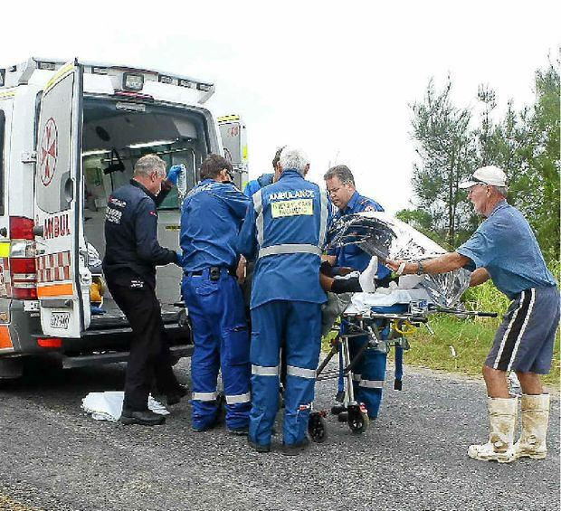 It was unclear as paramedics worked on Mr Dwarte at Palmers Channel yesterday whether his arm could be saved.