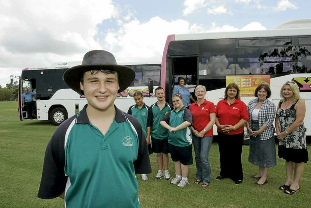 Hugh Hartwig, Sonia Holmes, Michael Sedgwick and Emma Hal, Rockhampton Special School, Kim Laffoley and Connie Taurima, Cerebral Palsy League, and Gail Carter and Helen Jeffries Mayoress Charity Foundation and Youngs bus drivers John Frazer and Angelique Gardiner.