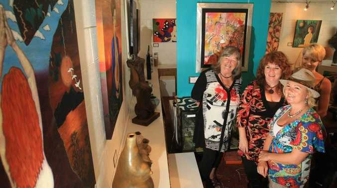 Artists Caz McDougall, Annie Higgins, Liz Threlfo and Heidi Ledwell at The Sacred Me exhibition which opens in Fingal this week to celebrate World Women's Day.