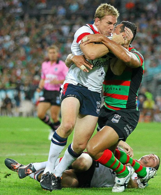 Mitchell Aubusson, of the Roosters, in action during the round one NRL match against South Sydney at ANZ Stadium on Monday night. He was handed the captaincy after Braith Anasta was injured.