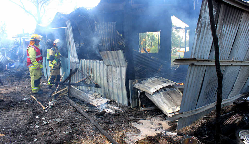 The fire was fuelled by exploding gas bottles making a dangerous situation for all.