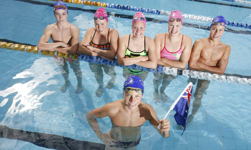 Ryan Smith (front), Anthony Cronan, Krystle Clarke, Leah Neale, Sharnie Kunde and Hayden Rea are among the group of CYMS St Edmund's swimmers competing at Australian championships.