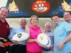 Queensland Premier Anna Bligh threw the CQ NRL bid team a killer pass this week, pledging $500,000 to plan a stadium in Rockhampton. Here she celebrates with Denis Keeffe (left), Paul Hoolihan, Geoff Murphy, Robert Schwarten and Bill Byrne.