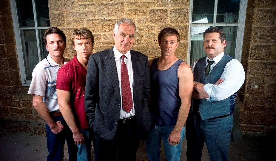 From left, Josh Quong Tart, Todd Lasance, Shane Bourne, Grant Bowler and John Batchelor star in the telemovie The Great Mint Swindle.
