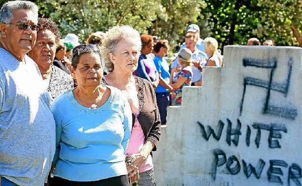 Residents Kevin Slabb, Sharon Phillips, Aunty Joyce and Jackie McDonald at the cemetery.