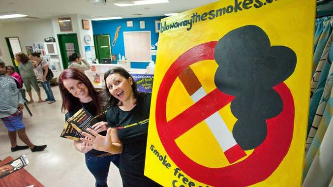 Amy Crowe and Sandra Avuri help to launch 'Blow Away the Smokes Day' which has been initiated for Aboriginal and Torres Strait Islander smokers to quit smoking on March 12 each year.