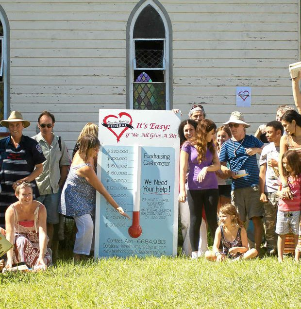 The Save the Heart of Federal campaign is hoping to get through a tin of red paint in its efforts to raise the $220,000 necessary to buy the village's Anglican church from the Grafton diocese.