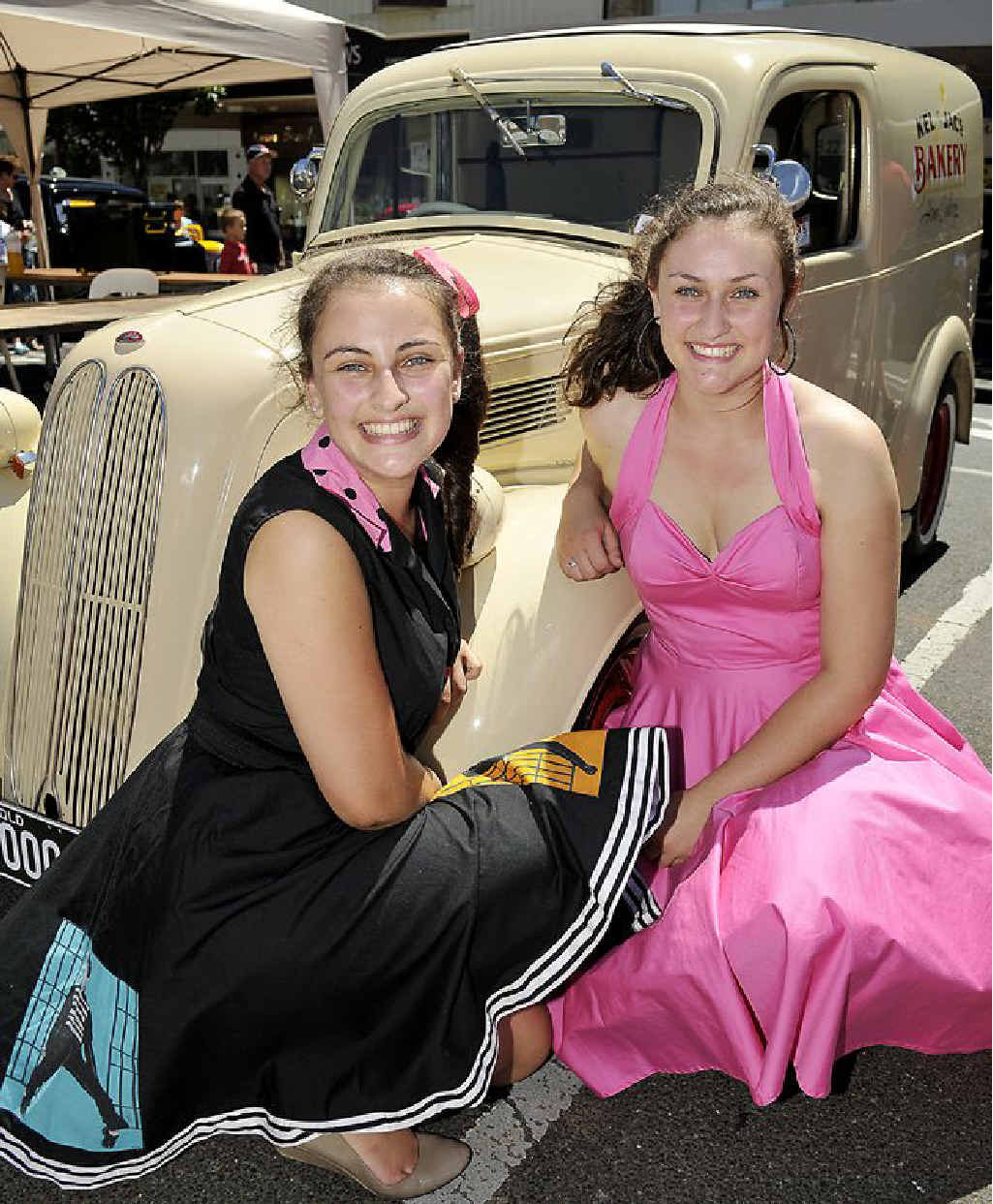 Jacquie and Kellie Twidale are proud to display their 1948 Anglia panel van at the Show 'n Shine in Toowoomba yesterday.