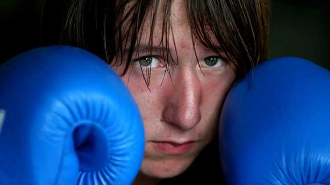 Promising boxer Jake Simkins shapes up during training. The youngster scored a good win at Stuart Stone's boxing promotion at Condong Bowls Club on Saturday.