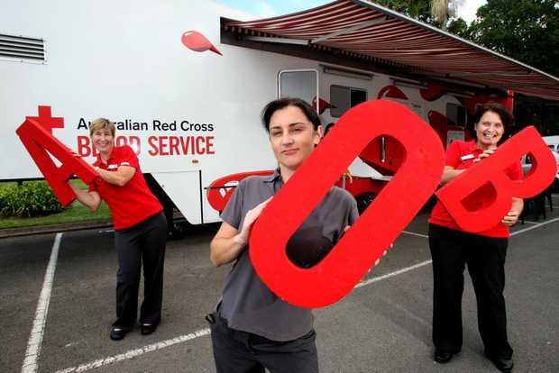 Di Breedon, Bianca McLennan and Deborah Harvey are on the case of blood donations in Murwillumbah.