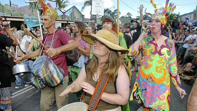 The annual Mardi Grass parade in Nimbin.