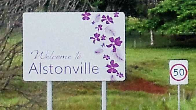 The new village entry sign on Wardell Rd at Alstonville.
