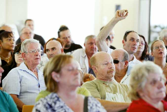 Flood victims heard from class action lawyers Maurice Blackburn at a public meeting held at the Ipswich Showgrounds.