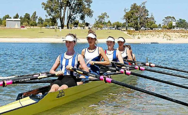 The women's under-17 quad team at the national rowing titles, Calla Gould-Walley (Lismore), Sarah Kitcher (Grafton), Sheridan Duck (Port Macquarie) and Georgia Philp (Grafton).