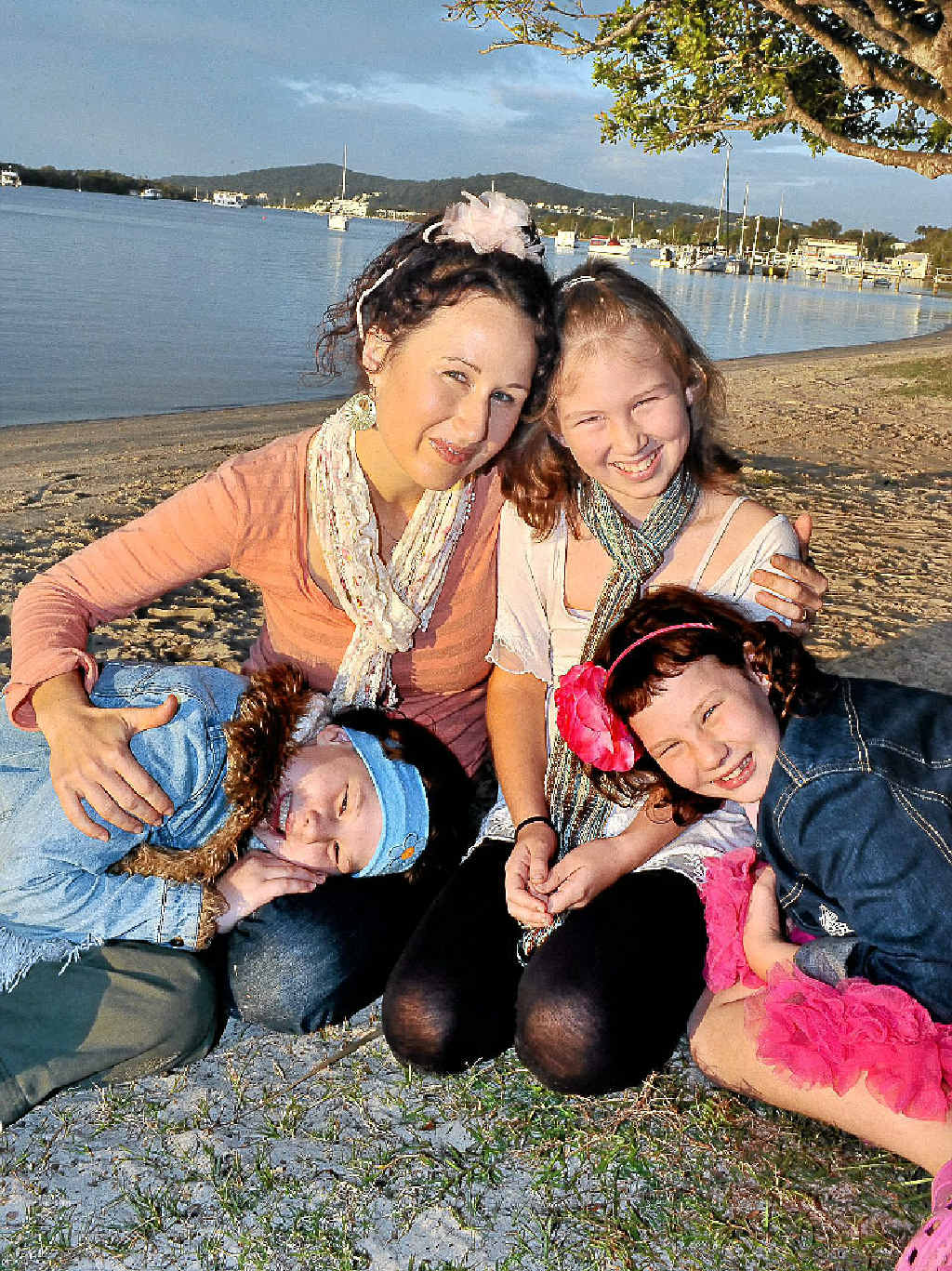 The Golinski twins, Sage and Willow, with mum Rachael and sister Starlia.