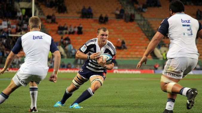 Stormers eightman Nick Koster in action during the 2012 Super Rugby match between DHL Stormers and Blues from DHL Newlands .