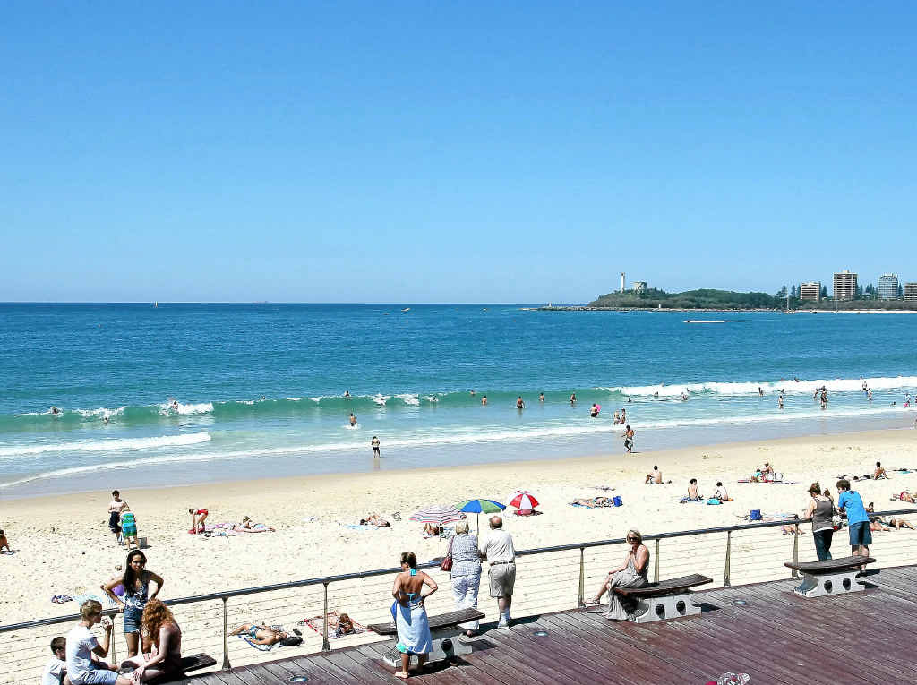 Mooloolaba Beach is almost empty in the recent great weather.