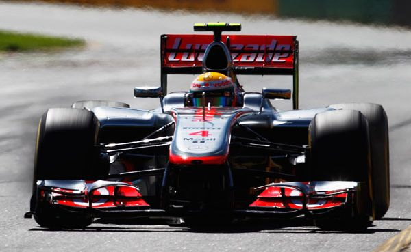Lewis Hamilton of Great Britain and McLaren drives during the final practice session prior to qualifying for the Australian Formula One Grand Prix.