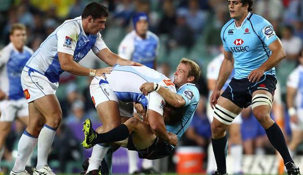 Sarel Pretorius is sent backwards by the Force defence