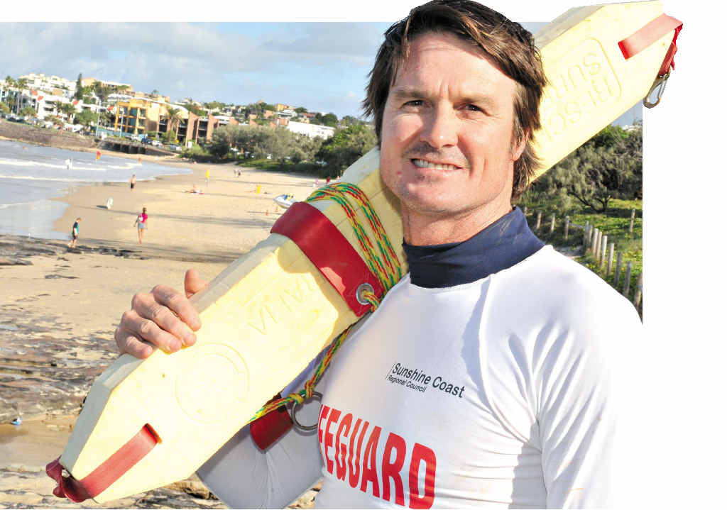 "LIFEGUARD: Steven ""Shorty"" Short of Alexandra Headland and (inset) Bondi Rescue's Bruce ""Hoppo"" Hopkins."
