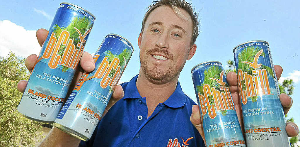 Nick Fitzpatrick with his drink bChill, which has the opposite effect of energy drinks.