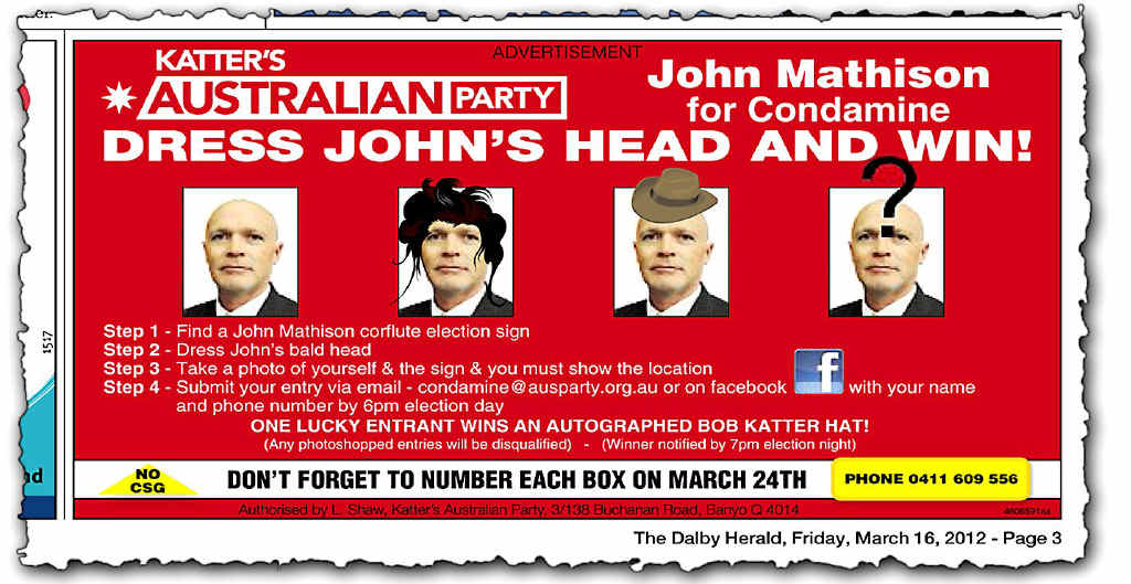Katter's Australian Party candidate for Condamine John Mathison has breathed some humour into the election campaign.