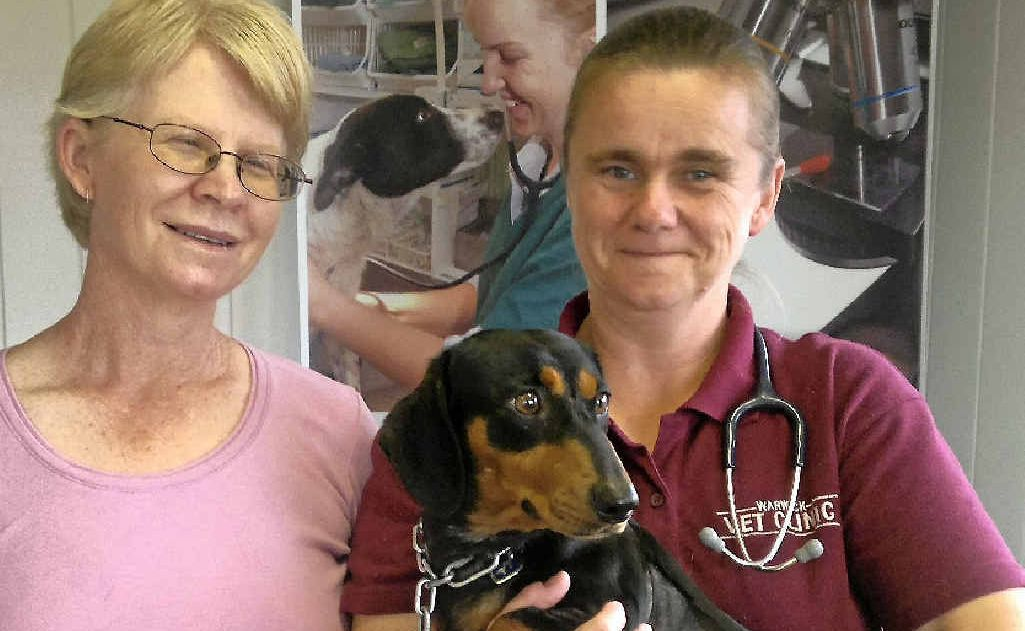Owner Corina Sutton and Dr Jane Gilmore with Charlie.