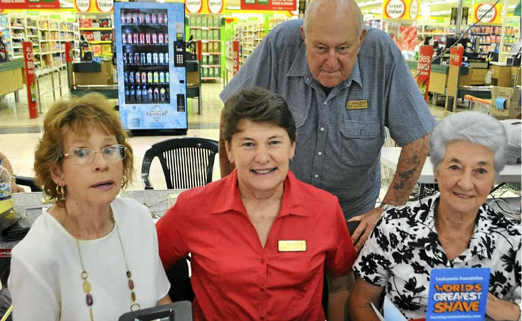 (front, from left) Cheryl Bohan, Elaine Stewart, Beryl Smith and (back) Graham Buchner help at the World's Greatest Shave in Rose City Shoppingworld.