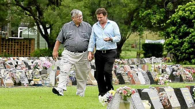 Simon Richardson and Max Dumais at Mullumbimby Cemetery.