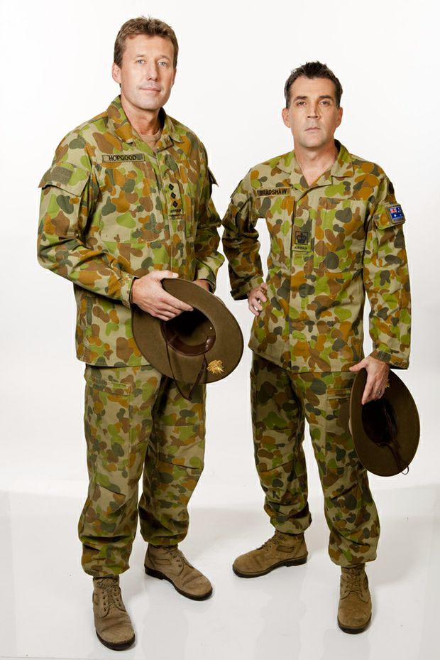 Queensland soldiers David Hopgood, left, and Scott Bradshaw became the seventh team eliminated from My Kitchen Rules tonight.