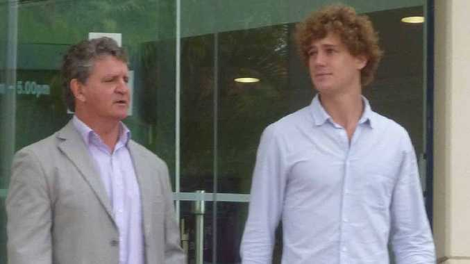 Principal of O'Reilly's Real Estate, Ross O'Reilly, leaves the inquest into the death of baby Isabella Diefenbach, with his son.