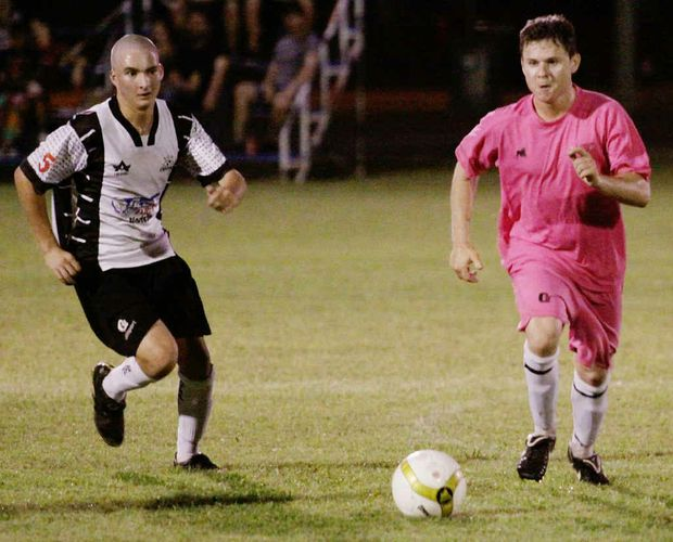 Nerimbera's Nathan Mutch takes the ball forward during the pre-season Stanwell Cup match with Centrals which Nerimbera won 3-1.