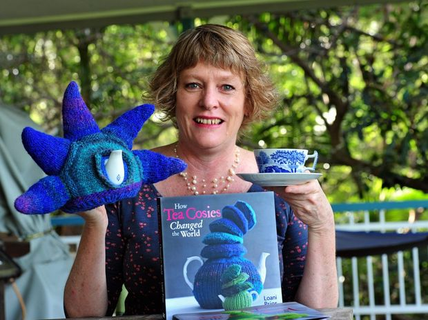 Loani Prior from Doonan with one of her tea cosies and her new book on the same subject, Tea Cosies.