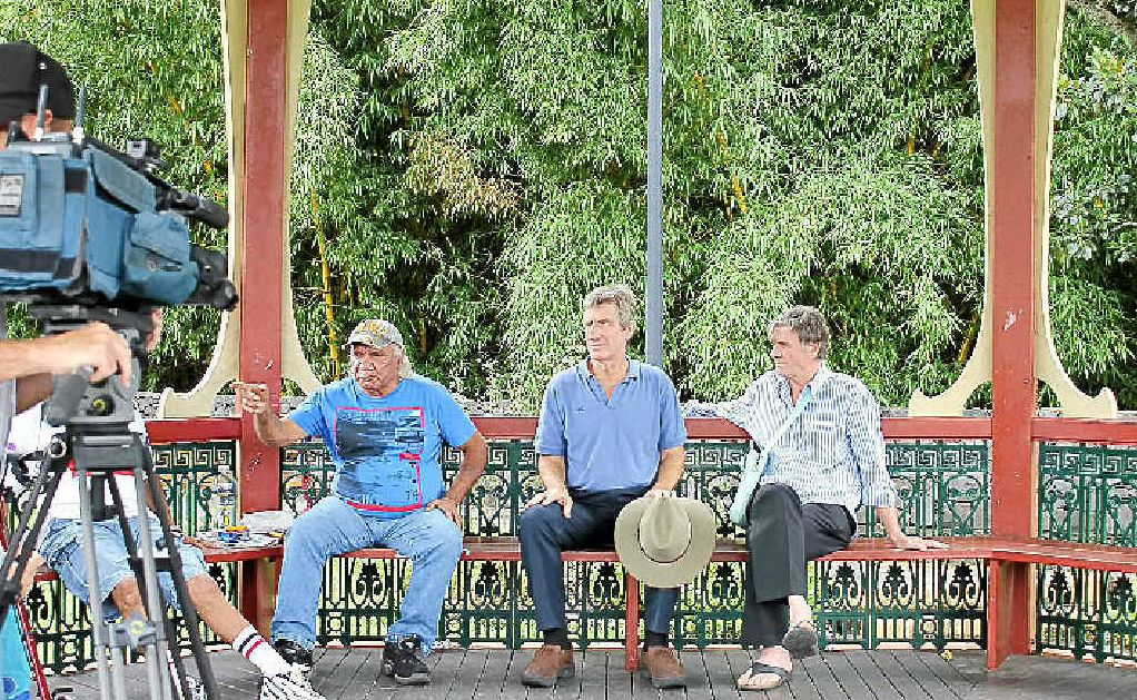 Ngaraakwal Elder Harry Boyd, Keerrong Gas Squad's Ian Gaillard and water activist Doug Ferguson at a press conference last Thursday.
