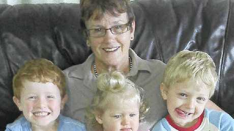 Heather Flack, pictured with her grandchildren, died in a crash when Louise Owen's car strayed onto the wrong side of the Bruxner Highway at Casino.