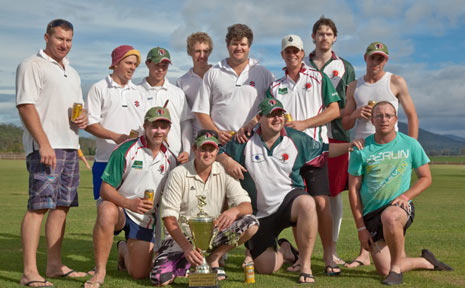 LONG TIME COMING: After a long spell between premierships, the Southern Lockyer A-Grade team celebrate after winning the Lockyer Cricket Association for the 2011-2012 season.
