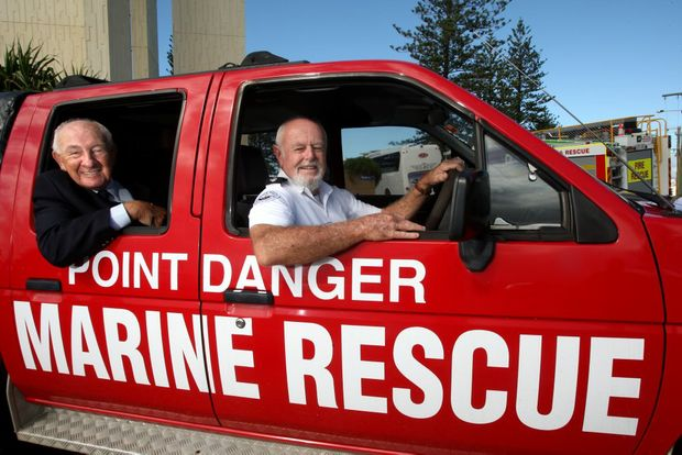 Peter Howell and Bernie Gabriel with Marine Rescue Point Danger's new vehicle.