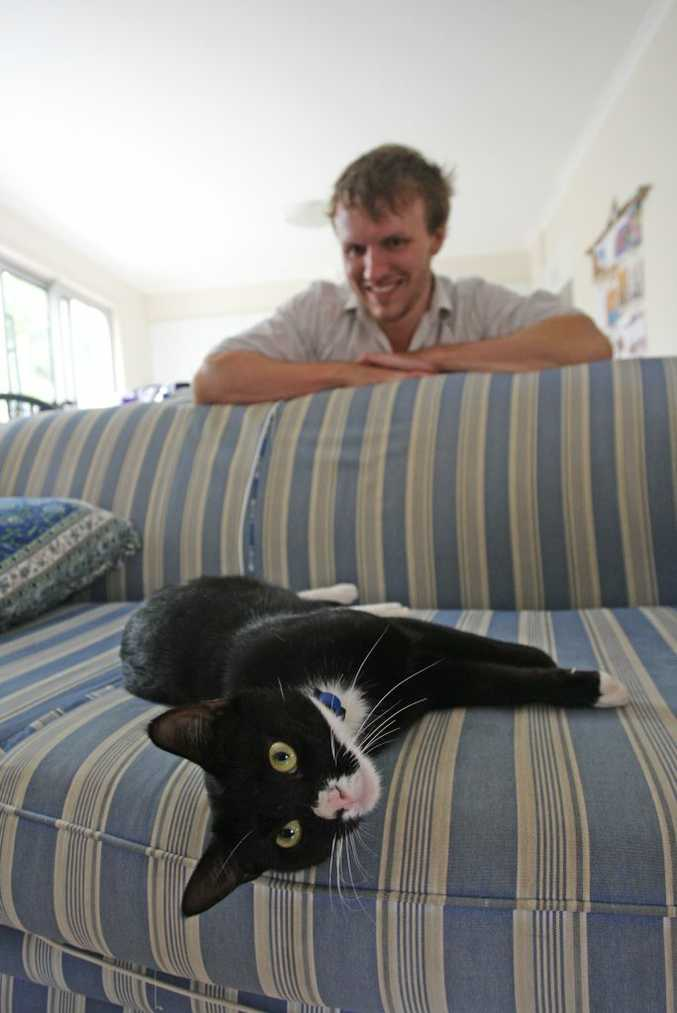 Patrick's cat Seth has returned, 2 months after he disappeared. Photo: Kari Bourne / Sunshine Coast Daily