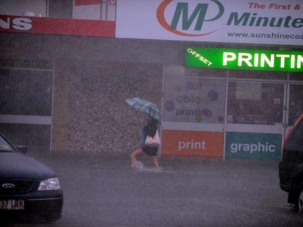 Flooding on Brisbane Rd, Mooloolaba.